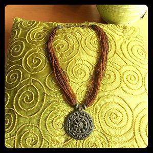 Lucky Brand Boho Bead & Bronze Medallion necklace
